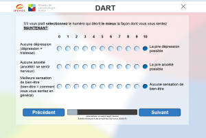 DART is a computer-based survey to assess a patient's over-all well-being, including physical symptoms, practical concerns, and emotional state—not just their cancer. French translation shown.