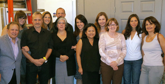 Team members from the Rossy Cancer Network, Cancer Care Ontario, and the University Health Network, from left to right: Zeev Rosberger, Ashley Kushneryk, Marc Hamel, Sarah Stevens, Myriam Fernandez, Andre Rousseau, Adriana Krasteva, Tran Truong, Yuliya Gavrylyuk, Doris Howell, Nicole Montgomery, Rosanna Faria