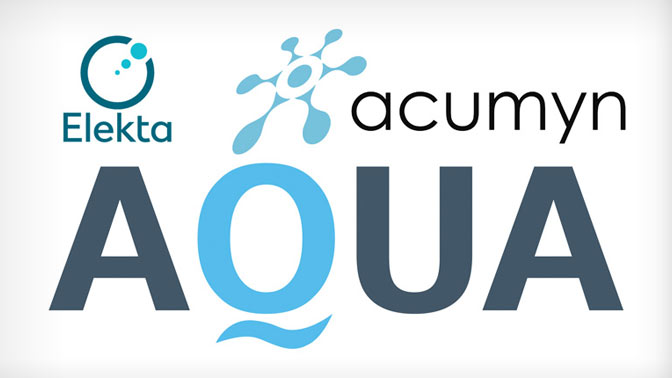 Logos from Acumyn, Elekta, and AQUA (Acumyn's software)