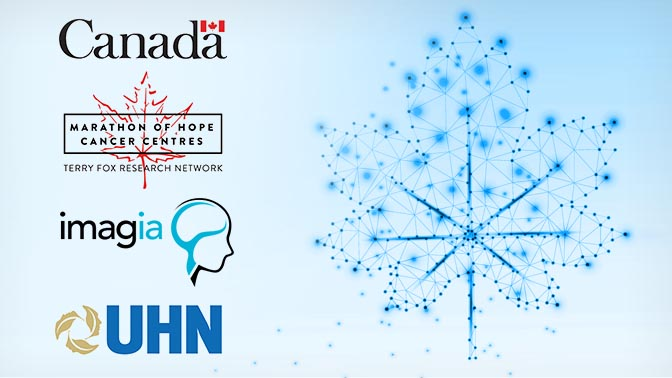 Picture of a stylized maple leaf and logos of the Gov't of Canada, the Marathon of Hope Cancer Centres Network, Imagia, and UHN -- partners in the DHDP