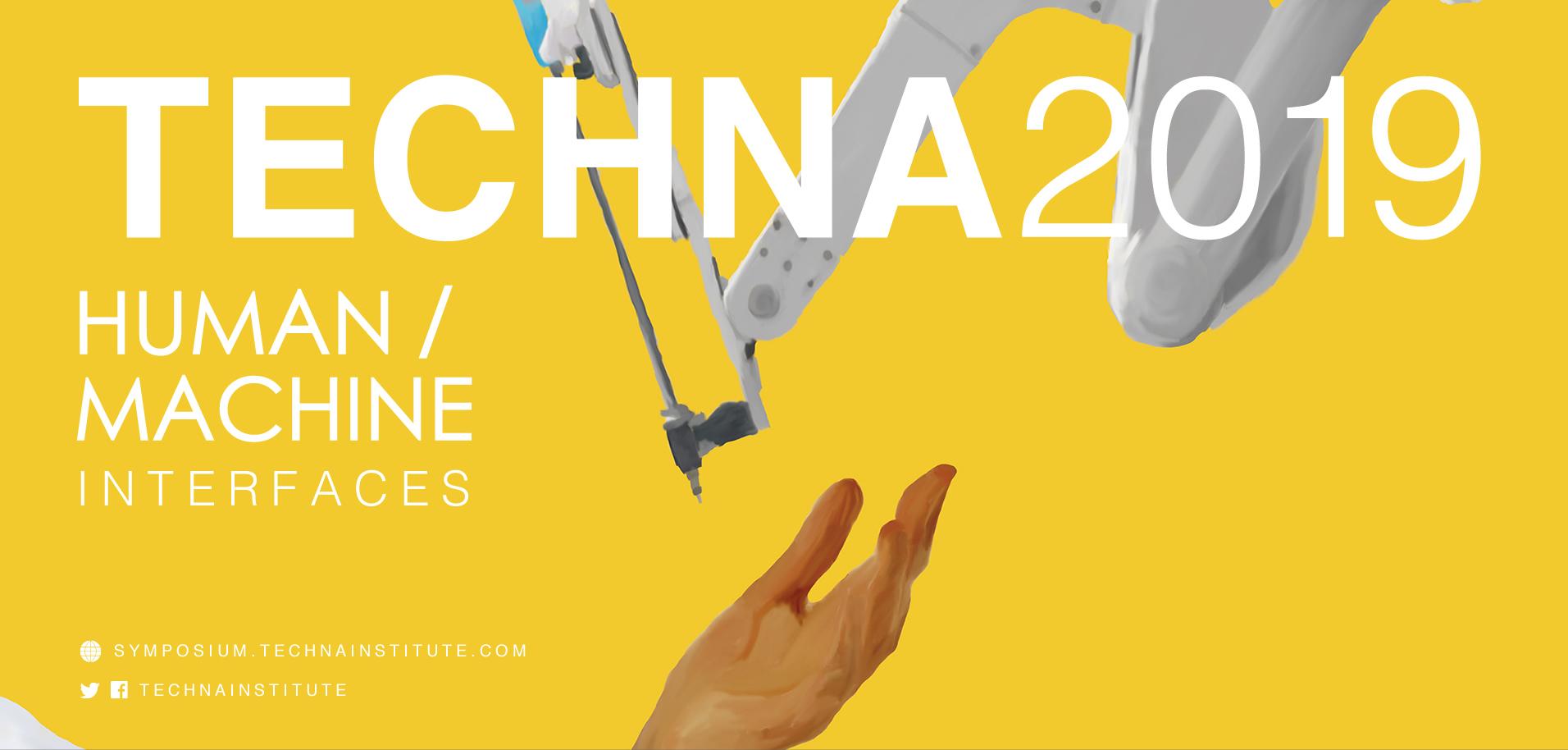 Techna Symposium 2019 human hand and machine graphic button